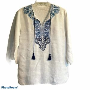 Symple NYC Medium Linen Tunic Top White Embroidery